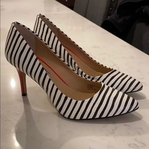 Inc. Black and white striped heels